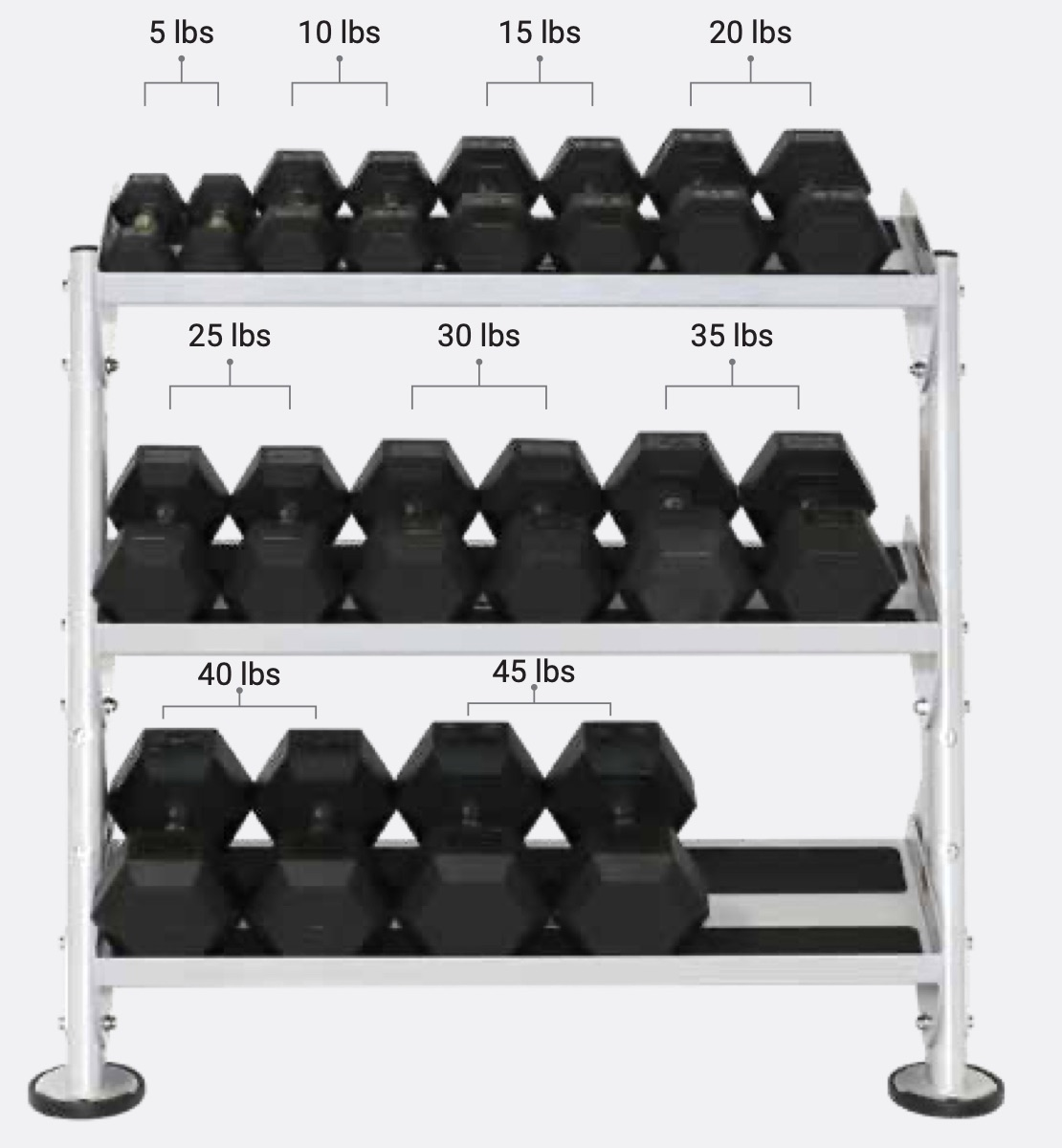 "Hoist Fitness HF-5461-OPT-36 36"" DUMBBELL RACK WITH OPT (3RD-TIER)"